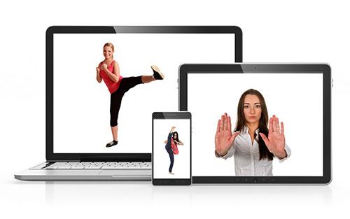 Cours de defense pour femme sur tablette, Internet et DVD